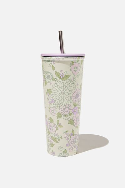 Metal Smoothie Cup, MINT PINK MOLLY FLORAL
