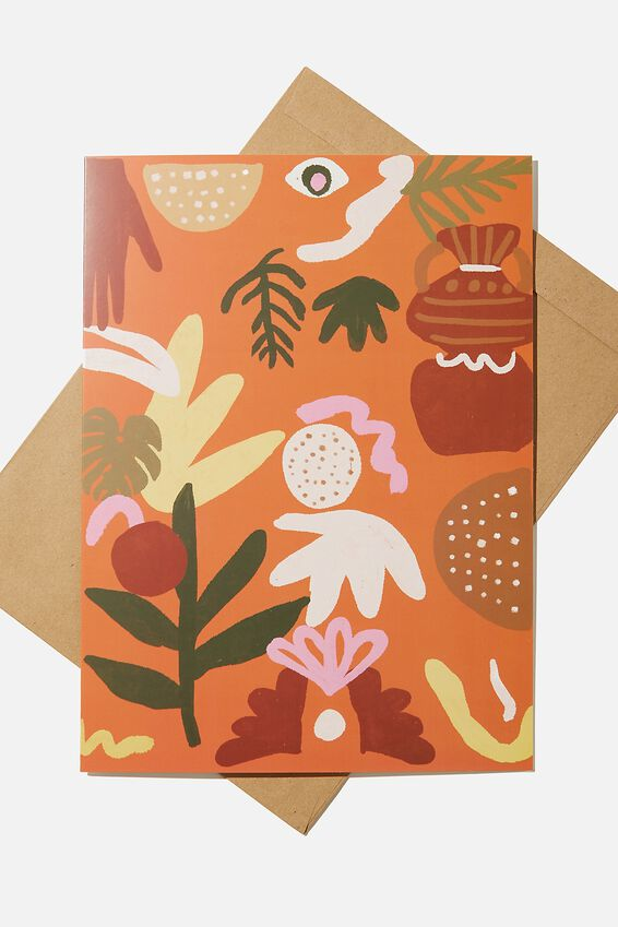 Large Fashion Card, PLANT ABSTRACT ILLUSTRATION