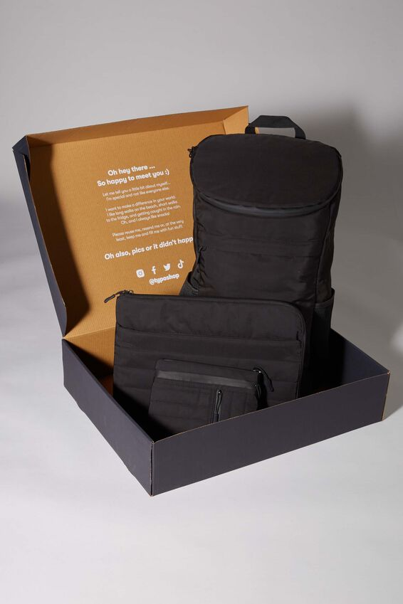 Utility Recycled Gift Set, BLACK AND GREY