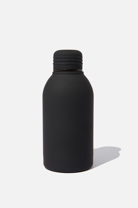 Mini Metal Drink Bottle, BLACK RUBBER