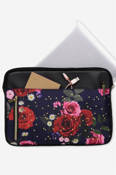 Take Charge 13 Inch Laptop Cover, NAVY FLORAL