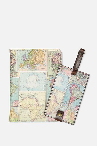 Passport Holder & Luggage Tag Set, WORLD MAP PRINT