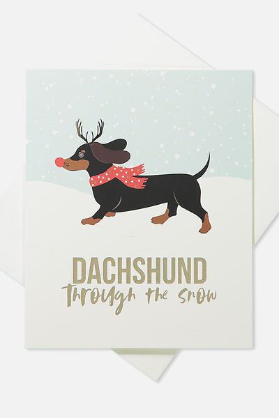 2018 Christmas Card, DACHSHUND THROUGH THE SNOW