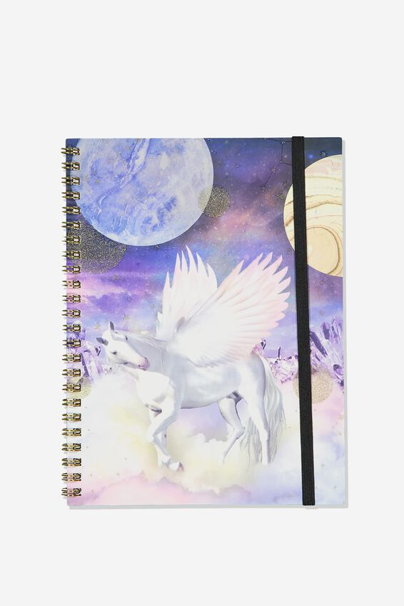 A5 Spinout Notebook Recycled, BOHO UNICORN