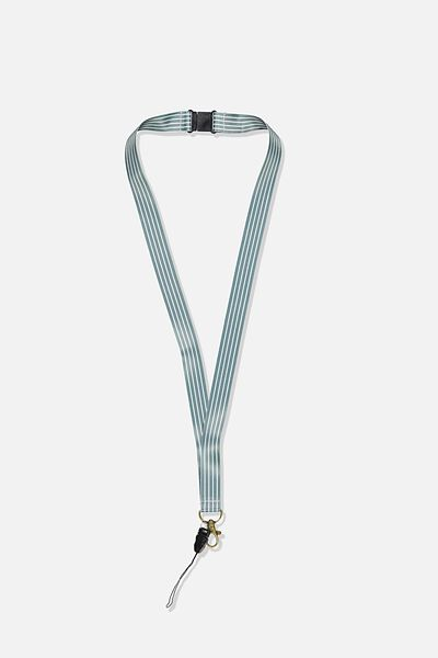 Printed Lanyard, DUSTY BLUE NEUTRAL STRIPES
