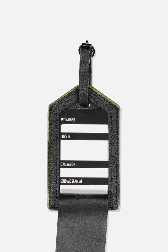 Luggage Tag, KHAKI MAP