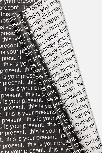 Double Sided Roll Wrap, THIS IS YOUR PRESENT HAPPY BIRTHDAY