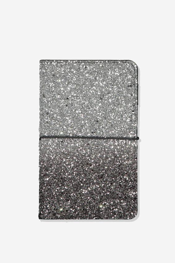 A5 Glitter Notebook, SILVER BLACK