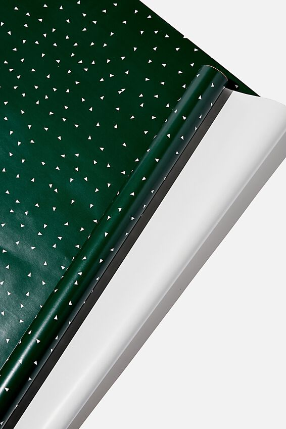 Roll Wrapping Paper, GREEN TRIANGLES
