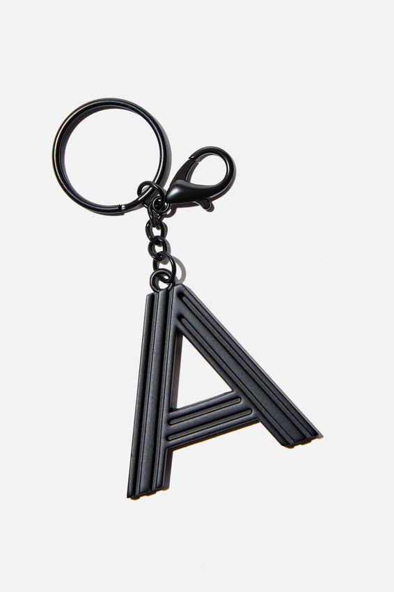 Alphabet Keyring, MATTE BLACK GRID A