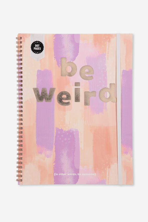A4 Spinout Notebook Dot Page, BE WEIRD PEACH PAINTED