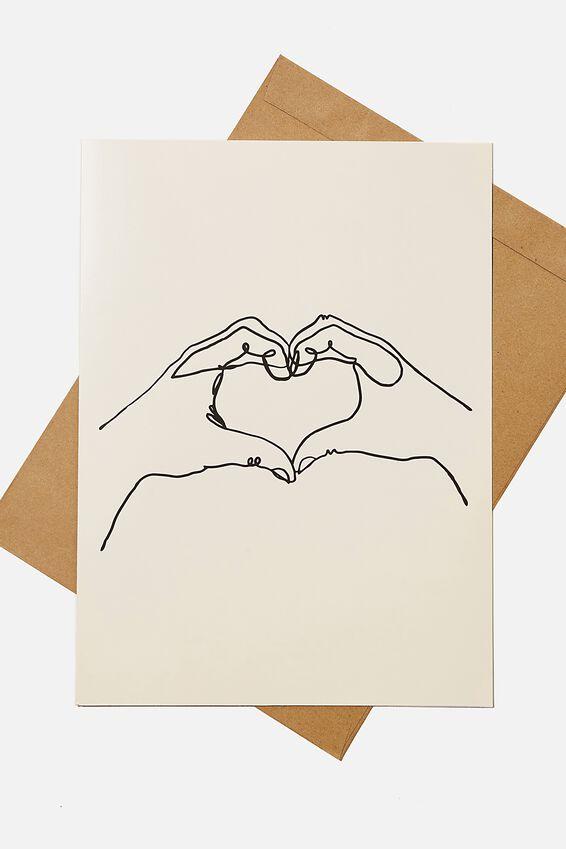 Large Fashion Card, HEART HANDS