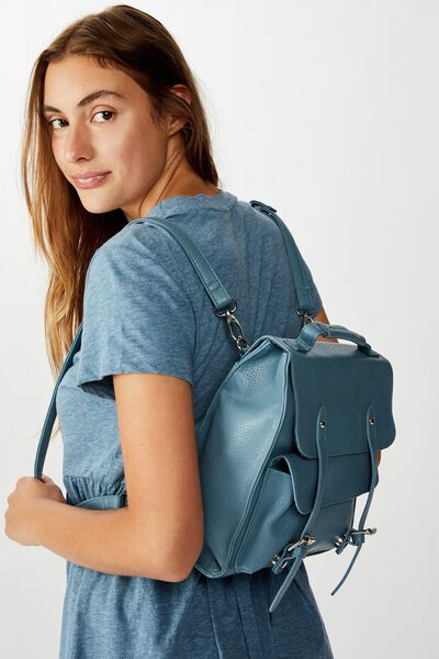 Buffalo Satchel Backpack, PETROL BLUE