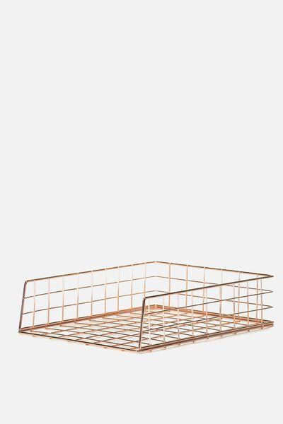 Metal Storage Desk Tray, ROSE GOLD WIRE