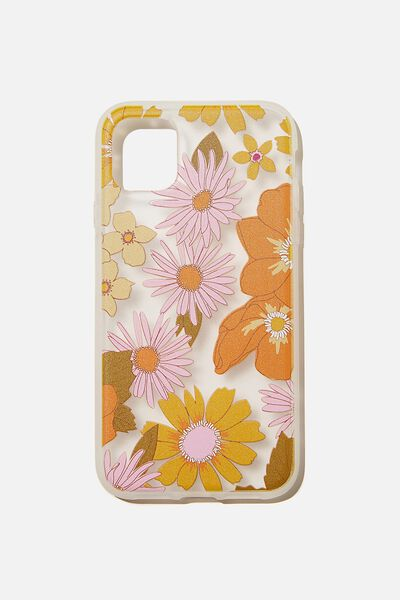 Protective Phone Case iPhone 11, STEVIE FLORAL ORANGE AND PINK