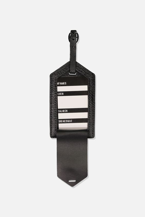 Luggage Tag, BLACK CHEVRON QUILT