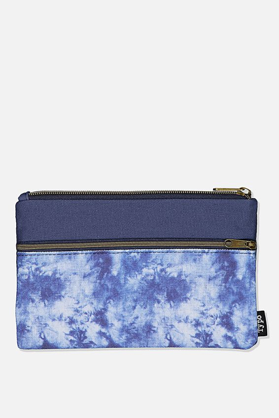 Archer Pencil Case, NAVY WASHED CANVAS