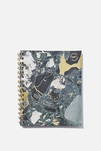 A5 Campus Notebook Recycled, BLACK TERRAZZO