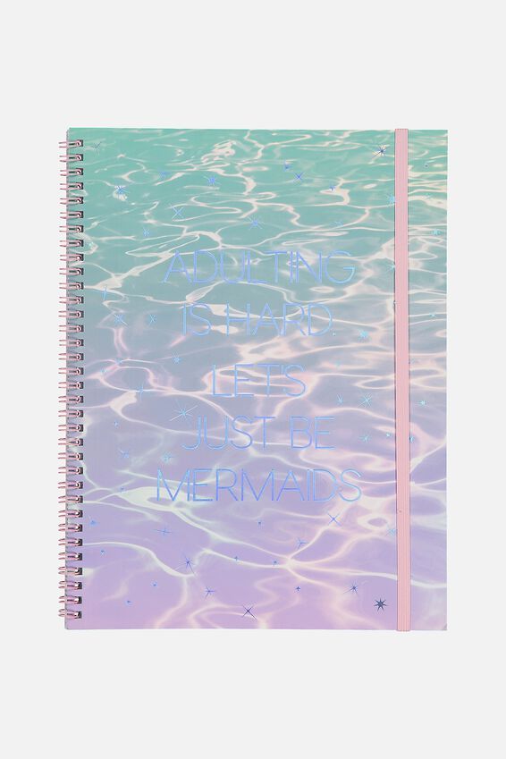A4 Spinout Notebook - 120 Pages, ADULTING IS HARD MERMAID