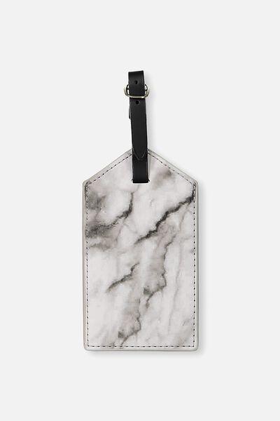 Luggage Tag, BLACK & WHITE MARBLE