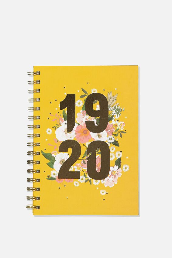 2019 20 A5 Spiral Diary, FLORAL