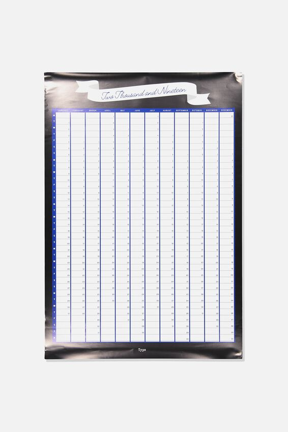 2019 A1 Yearly Planner, BLACK