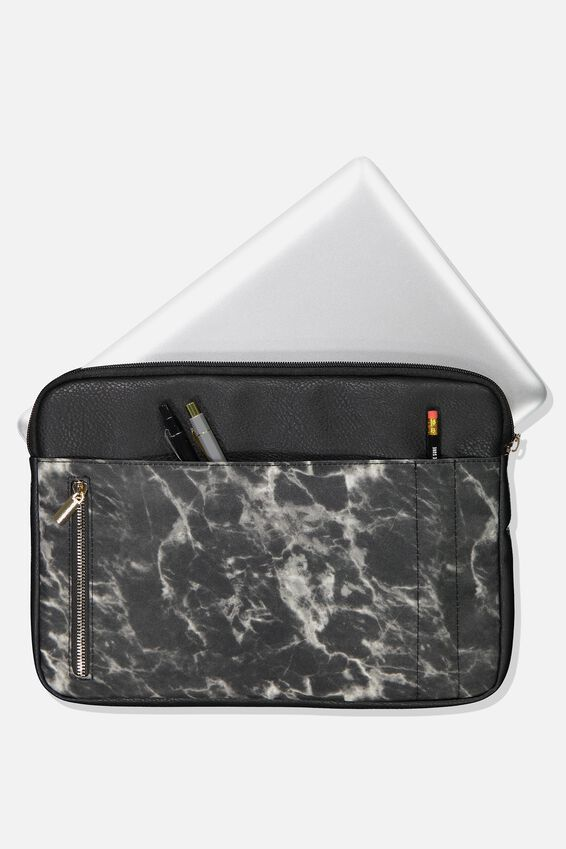 Take Charge Laptop Cover 13 inch, BLACK MARBLE