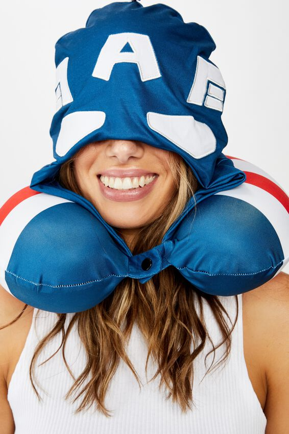 Marvel Travel Neck Pillow with Hood, LCN MARVEL CAPTAIN AMERICA