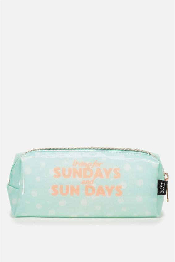 Clear Bailey Pencil Case, AQUA DOT SUNDAYS