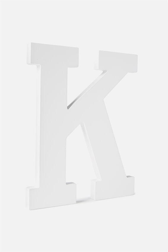 Large Letterpress Letter, WHITE K