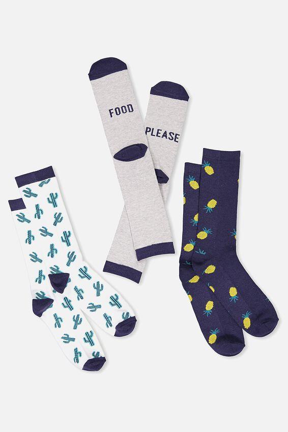 Mens Novelty Sock Set, TROPICAL