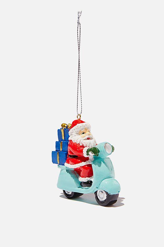 Resin Christmas Ornament, SCOOTER SANTA