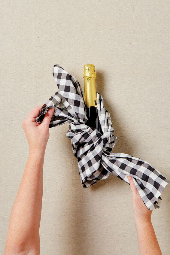 Fabric Wrapping Pack Large 1Pk, BLACK WHITE GINGHAM