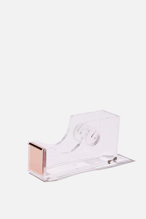 Acrylic Tape Dispenser, CLEAR BRASS