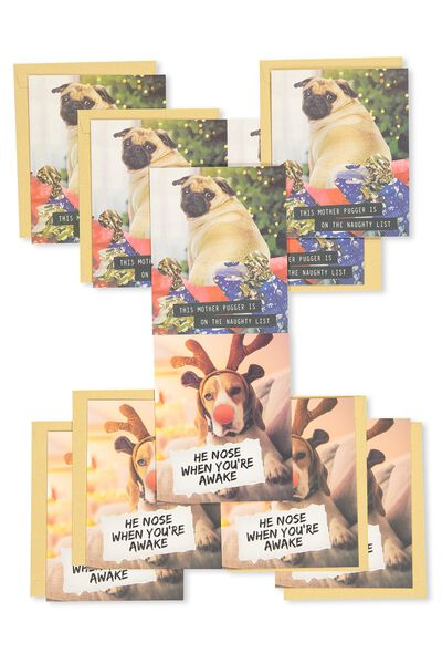 Christmas Card 2017 Pack Of 10, DOGS