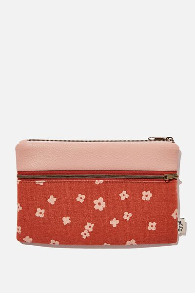 Archer Pencil Case, CHARLIE FLORAL RUST