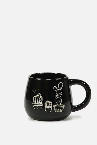 Subtle-Tea Mug, DEBOSSED CACTUS