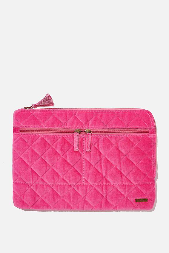 Velvet Oxford 13 Inch Laptop Case, QUILTED SHOCKING PINK