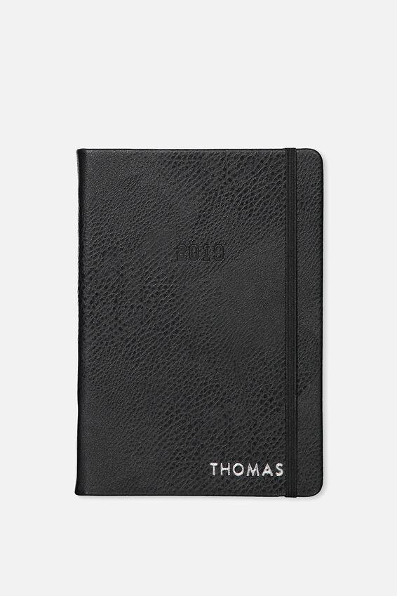 Personalised 2019 A5 Weekly Buffalo Diary, BLACK