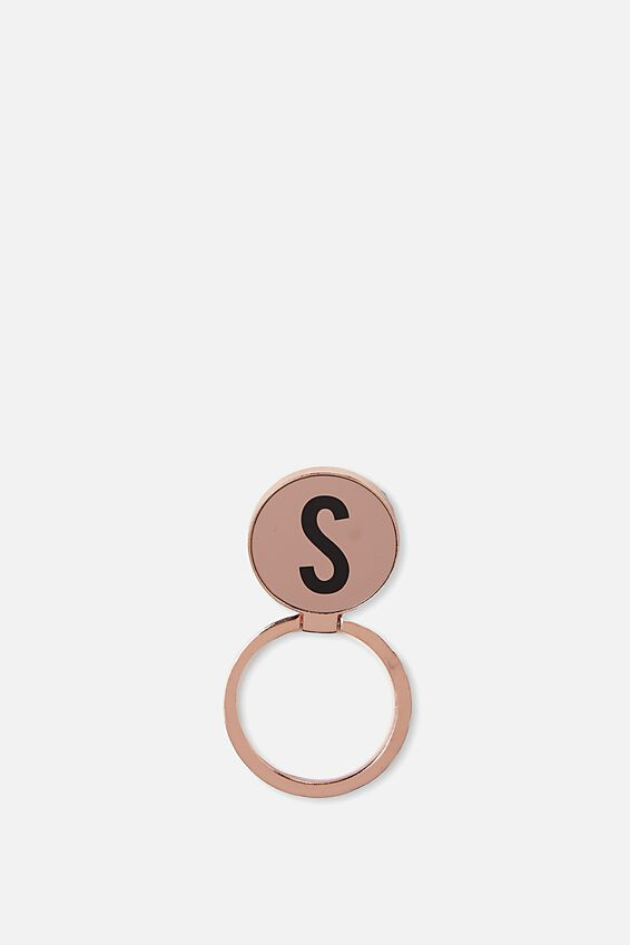 Metal Alpha Phone Ring, ROSE GOLD S