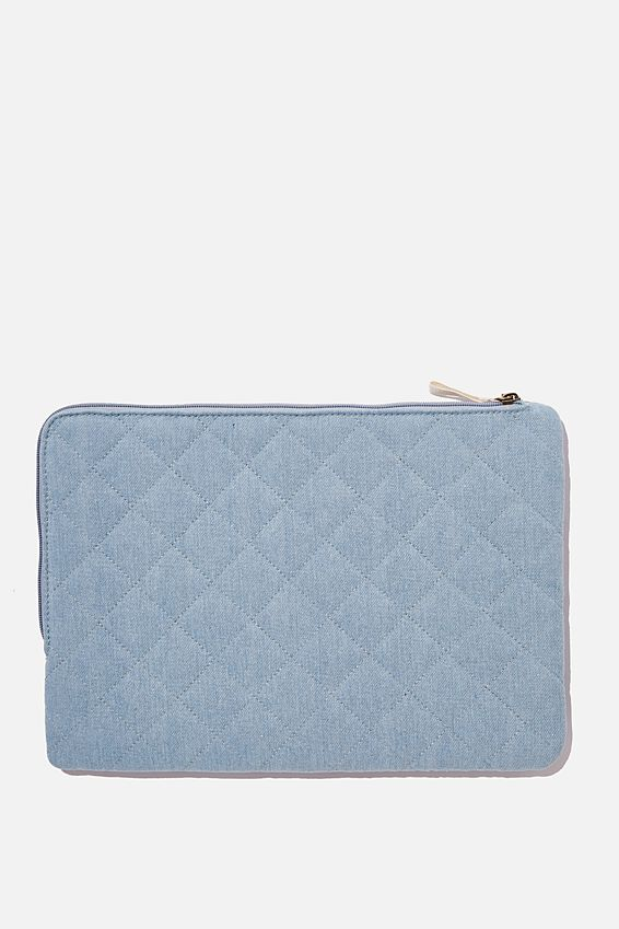 Denim Oxford 13 Inch Laptop Case, QUILTED DENIM
