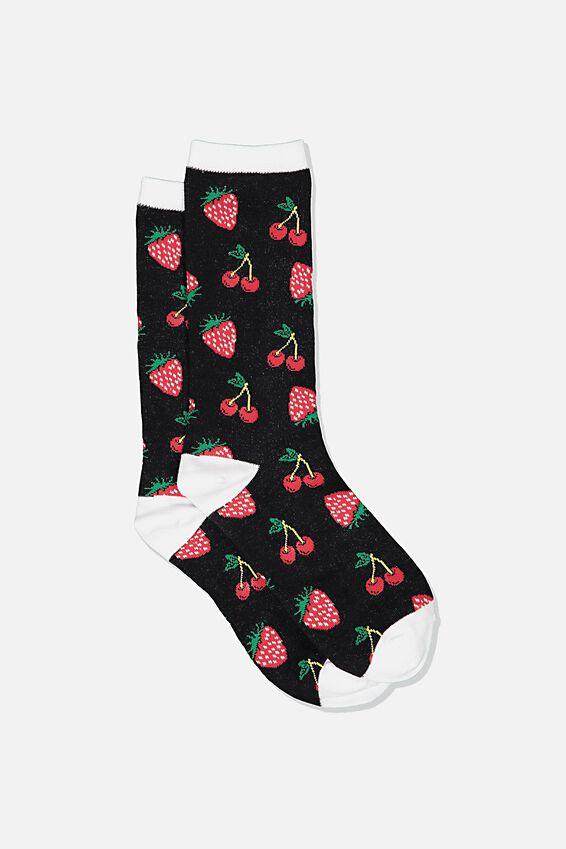 Womens Novelty Socks, CHERRIES & STRAWBERRIES