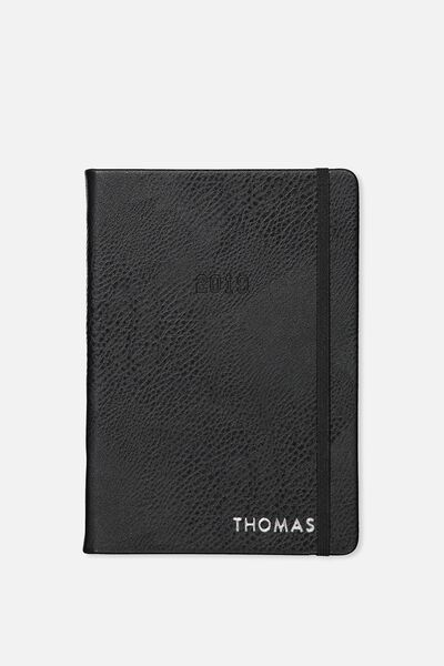 Personalised 2019 A5 Daily Buffalo Diary, BLACK