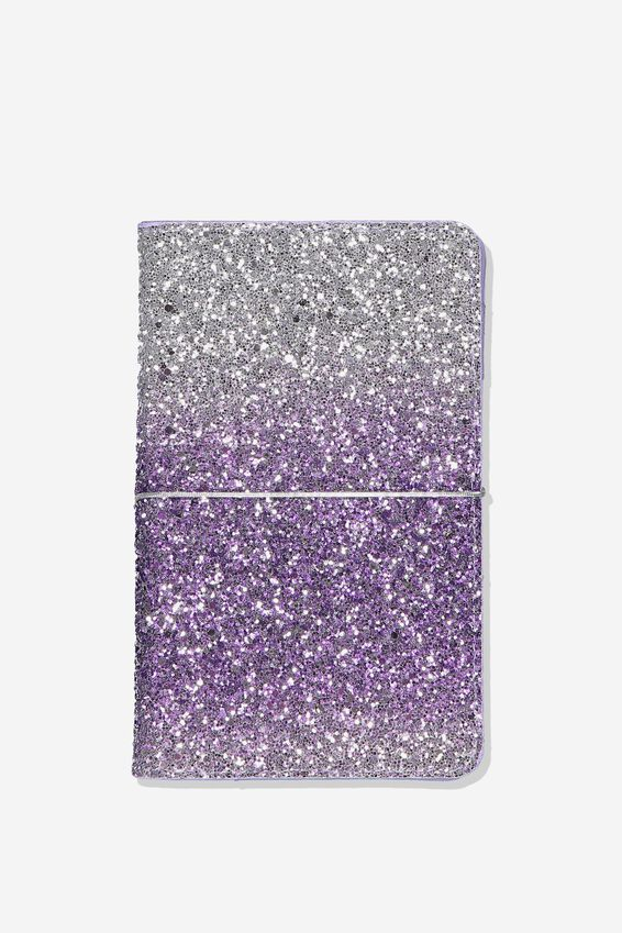 A5 Glitter Notebook, SILVER PURPLE