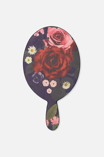 Hand Held Mirror, NAVY ROSE FLORAL