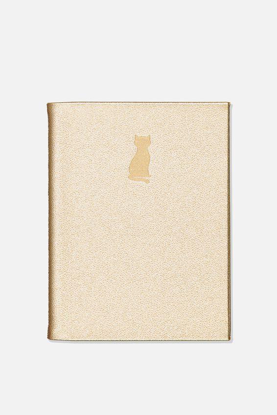 A5 Dot Hidden Spiral Notebook, GOLD CAT