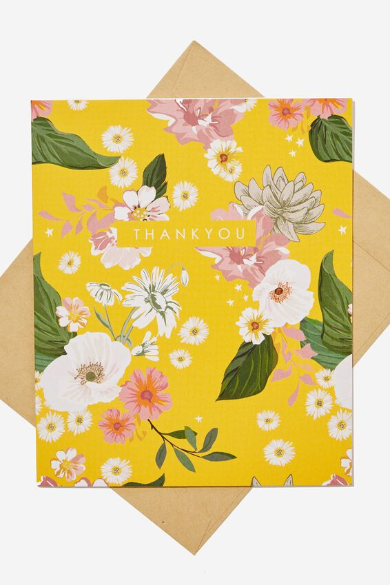 Thank You Card, YELLOW FLORAL