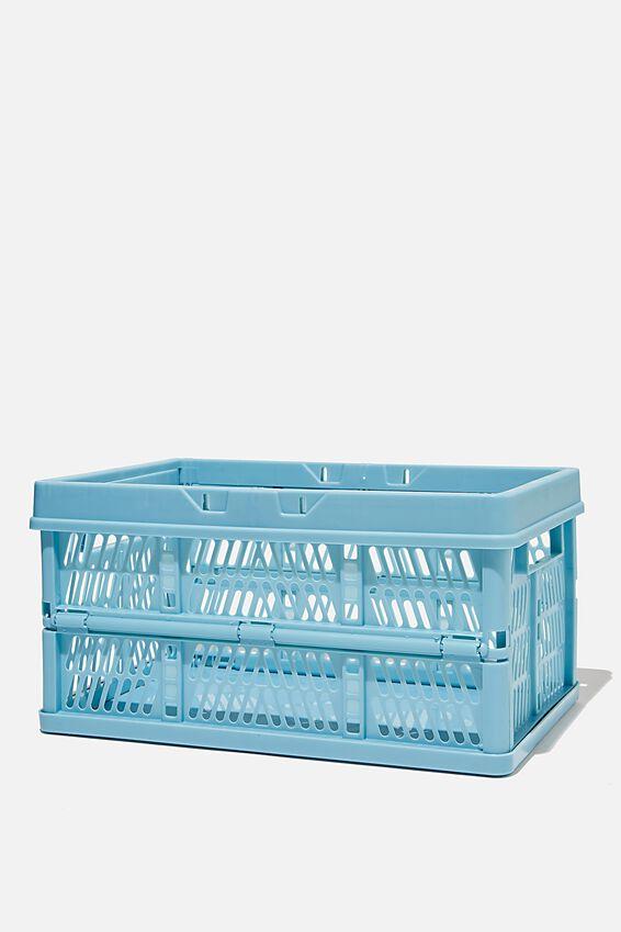 Midi Foldable Storage Crate, DENIM BLUE
