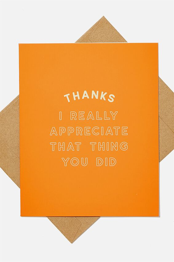 Thank You Card, THANKS FOR THAT THING YOU DID RED