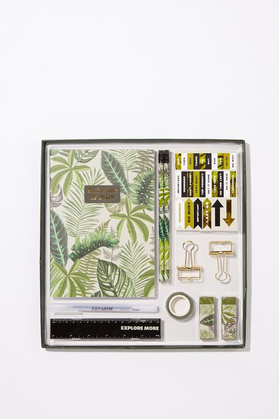 Dot Journal Gift Set, FERN FOLIAGE DARK GROUND